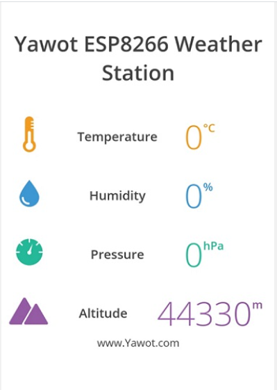 Esp8266  wifi Weather Monitoring Temperature Pressure, Humidity,& Altitude.