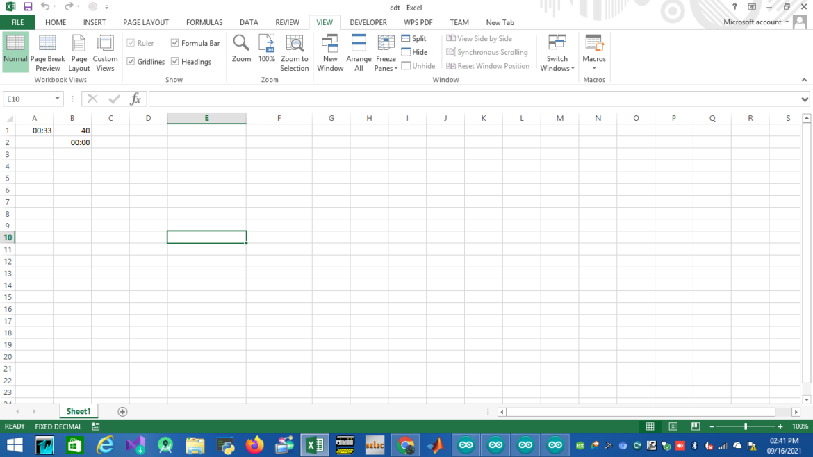EXCEL COUNT TIMER TIMER ON CELL