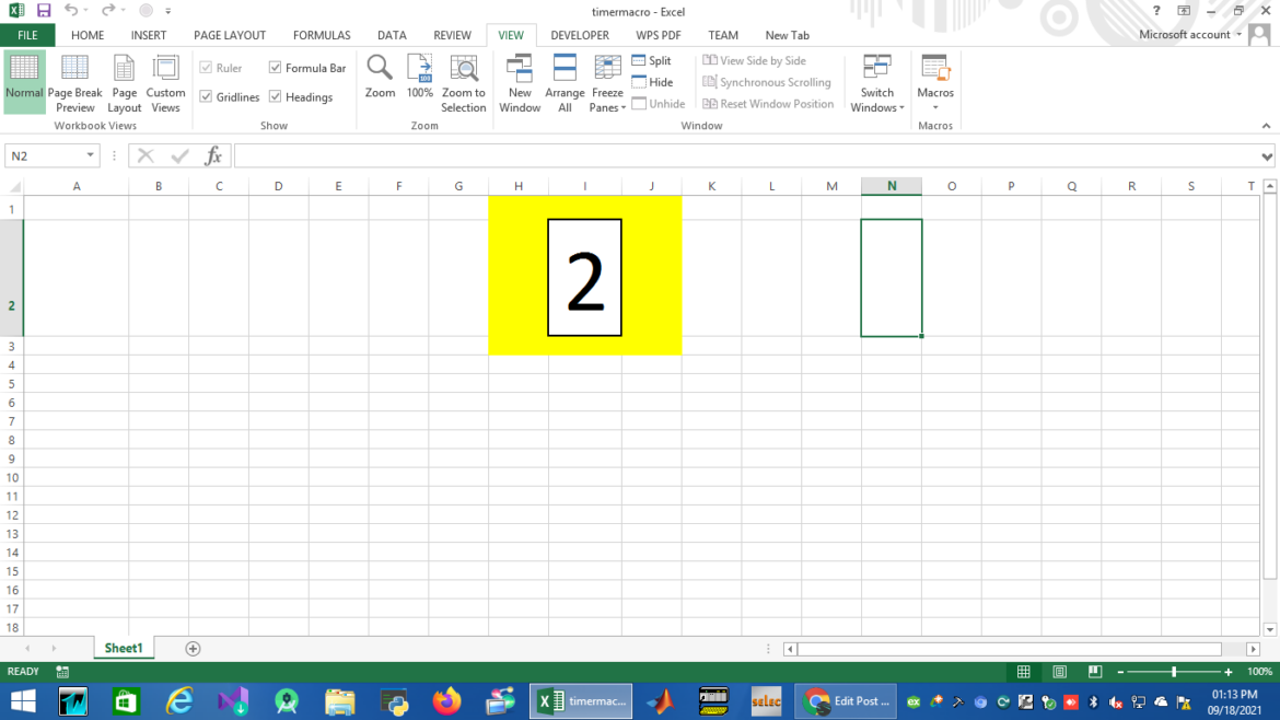 Excel countdown timer working on an edit mode